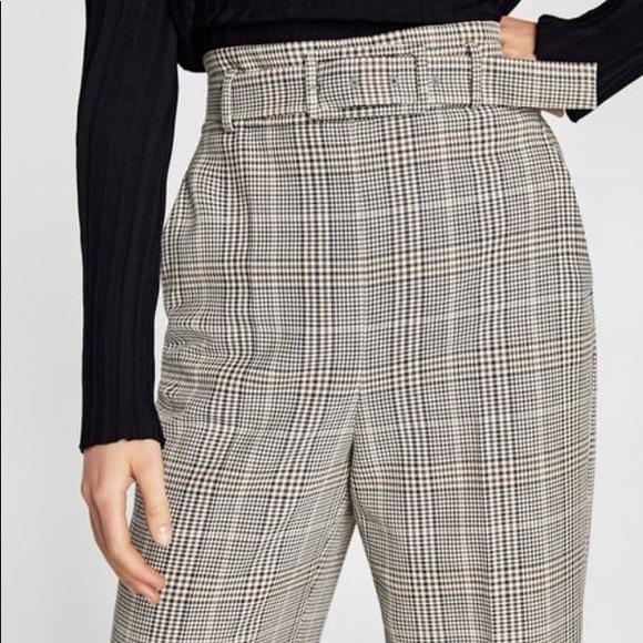 b2979175 Zara High Waisted Belted Trouser